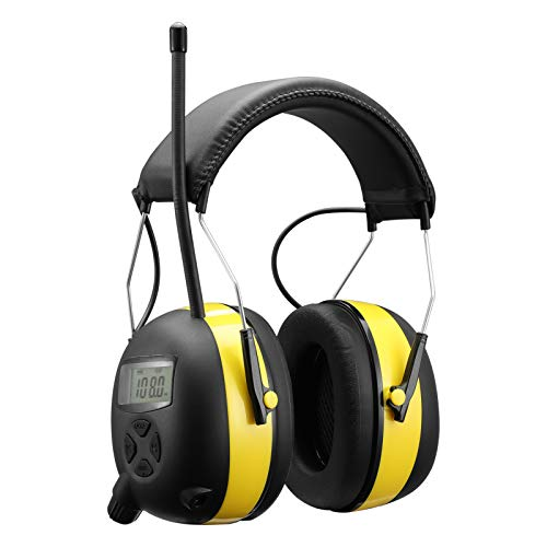 Smoostart Am/Fm Radio Hearing Protector, Noise Reduction Safety Ear Muffs, 30db Noise Cancelling Ear Protection with Digital Display for Mowing,Snowblowing, Construction, Shooting, Work Shops