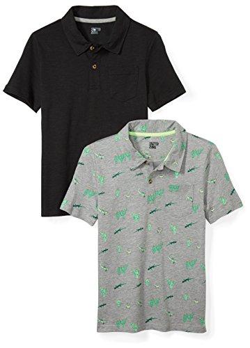 Amazon Brand - Spotted Zebra Kids Boys Slub Jersey Short-Sleeve Polo Shirts, 2-Pack Black/Desert, Small