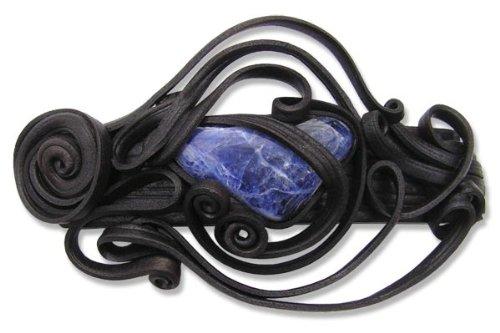 Toms-Silver Schwarze Haarspange mit Sodaliih handgearbeitet aus Kunstharz Spangenlänge 8 cm