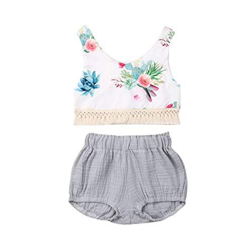 Janly Clearance Sale Conjunto de trajes para niñas de 0 a 24 meses, con estampado floral, sin mangas y pantalones cortos de polipropileno, para niños grandes de 18 a 24 meses (blanco)