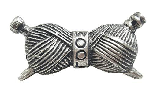 Ovillo de lana para tejer hecho a mano peltre Pin de + 59mm Insignia + Bolsa de regalo