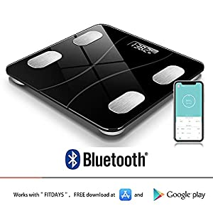 Bluetooth Body Fat Scale, Smart Wireless BMI Bathroom Weight Scale Body Composition Monitor Health Analyzer with Smartphone App for Body Weight, Fat, Water, BMI, BMR (Black)