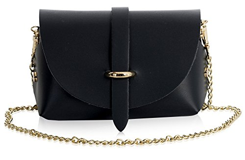 LiaTalia rectangular shape genuine leather mini clutch body bag with a slide through closing Gold colour embellishments and fully Removable Chain HxWxD = 10 x 18 x 8 cm (4 x 7 x 3 inch), Weight 230 grams (0.50 lb, 8.11 oz), Shoulder Strap drop 62 cm ...