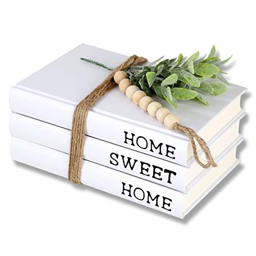 Decorative White Books,Farmhouse Stacked Books,Hardcover Books Decorative ,Home|Sweet|Home(Set of 3) Stacked Books for Decorating Coffee Tables and Shelves