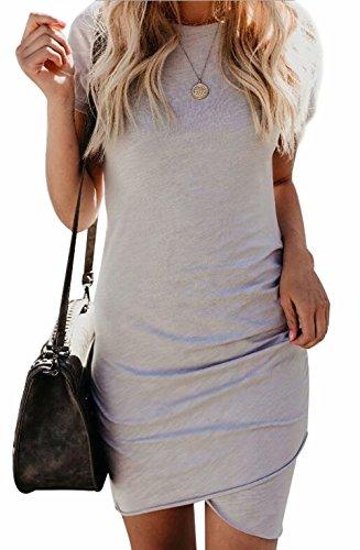 EGELEXY Women Irregular Dresses Round Neck Bodycon Short Sleeve Wrap Dress Midi Club Size M (Gray)