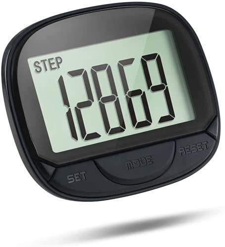 Podómetro Digital, Contador de Pasos Multifuncional, podómetro 3D con Clip para rastreador de Ejercicios para Seguimiento de Pasos / Distancia recorrida / calorías con función de Reloj