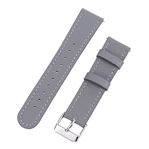 UKCOCO Correa de Reloj de Cuero Compatible para Huami Amazfit Bip GTS Correa de Reloj de Repuesto Vintage Pulsera para Mujeres Hombres 20Mm Gris