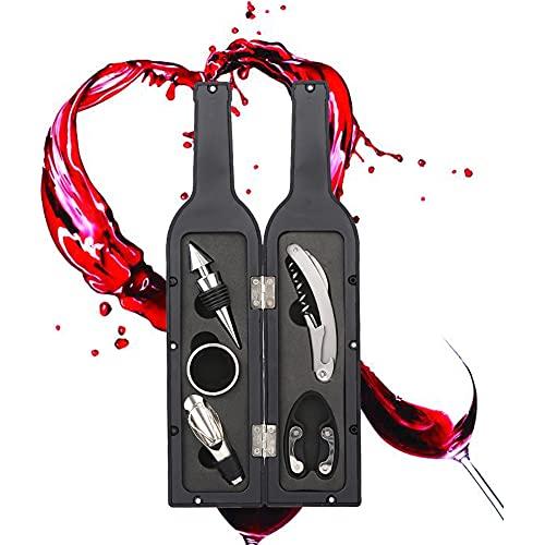 Juego de abridor de vino de 5 piezas, incluye sacacorchos, tapón, vertedor de vino, cortador de lámina, anillo de goteo
