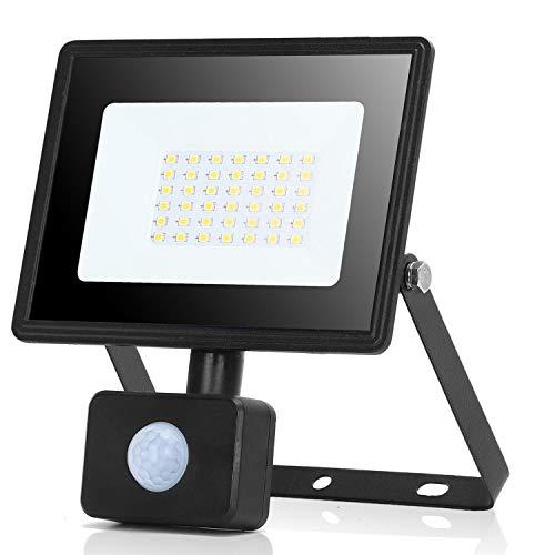 Aigostar Faretto con Sensore di Movimento,30W 2700lumen Faro LED Esterno,Bianco Naturale 4000k,IP65 Impermeabile Faretti LED per Giardino, Cortile,Patio,Garage