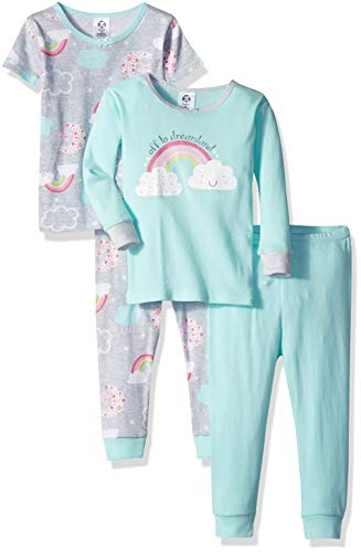Gerber Baby Girls' 4-Piece Pajama Set, Happy Rainbow, 12 Months