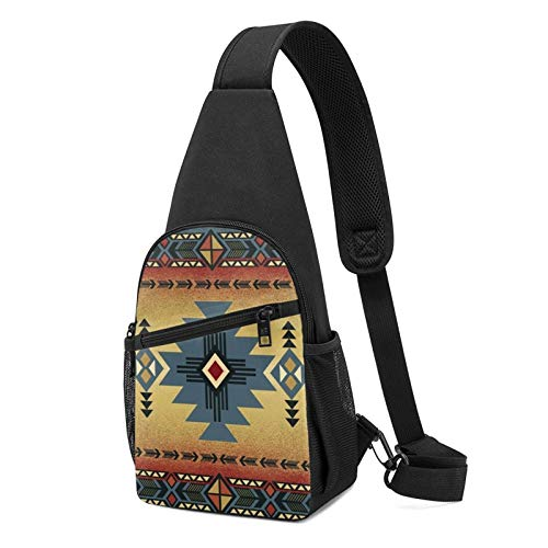 Sac à bandoulière antivol pour homme - Léger - Pour l'extérieur et la gym - Blanc - Couverture de selle amérindienne noire, Taille unique