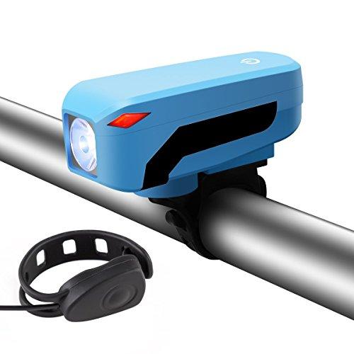 USB Batería IP45 bicicleta luz, sgodde Ultra brillante cuatro modo luz delantera + altavoz de 140 db, fácil de instalar y se ajusta a cualquier Bicicletas de carretera, azul