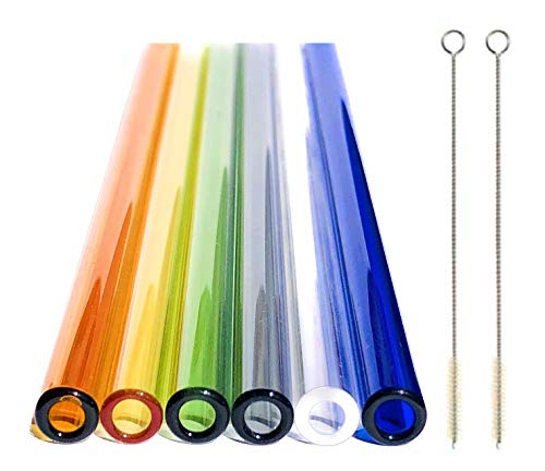 Pajitas reutilizables de cristal, juego de 6 con 2 cepillos de limpieza de 20 cm x 8 mm, hechas a mano, pajita de cristal, color respetuoso con el medio ambiente, bonito regalo