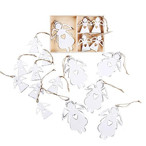 Logbuch-Verlag 18 Engel Anhänger Weihnachten Weihnachtsanhänger Schutzengel flach Geschenk klein Metall vintage Deko Baumschmuck Christbaumanhänger weiß