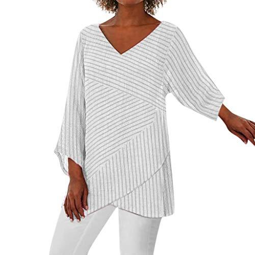 BUKINIE Liquidation T-Shirt Femme Chemisier en Mousseline de Soie pour Femmes Casual Stripe V Cou à Volants Chemisier Ample Tops Chic Pas Cher (Blanc,X-Large