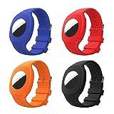 MoKo Lot de 4 Bracelets Compatible avec AirTag 2021, Bracelet de Montre en Silicone Réglable avec Étui de Protection Transparent pour Enfants, Bébé, Tout-Petit - Noir+Bleu Foncé+Rouge+Orange