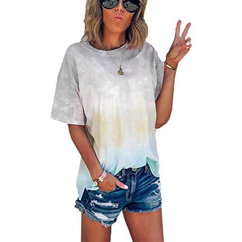 Camiseta Suelta con Estampado de Degradado de teñido Anudado de Verano Top para Mujer