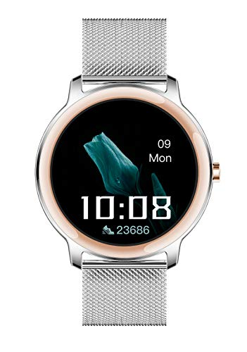 Aliwisdom Smartwatch für Damen, 1,1 Zoll Rund Fashion Smart Watch Fitness Uhr Wasserdicht Sport Armbanduhr Fitness Tracker Mit Whatsapp SMS-Lesefunktion für iOS Android (Metallband, Silber)