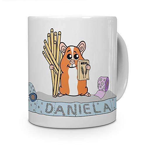 printplanet Tasse mit Namen Daniela - Motiv Hamstern - Namenstasse, Kaffeebecher, Mug, Becher, Kaffeetasse - Farbe Weiß