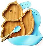 BUABI Vajilla de Bambú y silicona (ARDILLA). Set 3 piezas: Plato, Cuchara y Babero. Con ventosa antideslizante en la base. Bambú natural y silicona grado alimentario, Ecológico sin BPA (Azul)