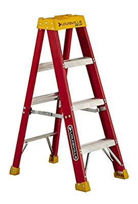 Louisville Ladder 4-Feet Fiberglass Stepladder, 300-Pound Capacity, L-3016-04