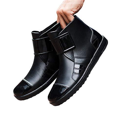 Semo1musレインシューズ メンズ レインブーツ ショートシューズ 雨靴 サイドゴア 防水防雨 梅雨対策 滑り止め 無地 大きいサイズ 晴雨兼用 アウトドア ビジネス カジュアル ブラック