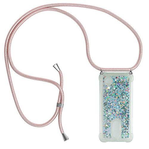 Ptny Handykette kompatibel mit LG K8 2017 Smartphone Necklace Hülle mit Band, Schnur mit Case zum umhängen Stylische Kordel Kette, Kristallklare Handyhülle zum Umhängen in Roségold