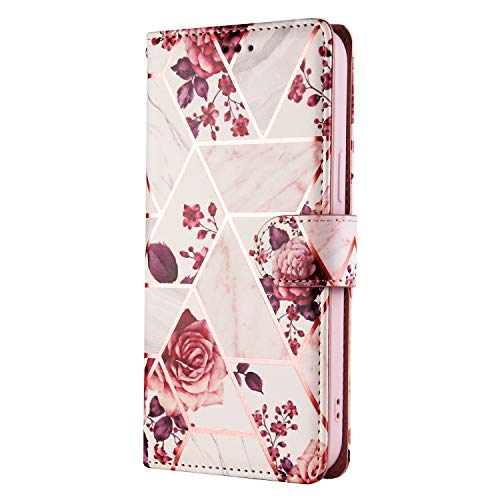 JZ Gold Stamping Geometry Marble Funda For para iPhone 6S Plus / 6 Plus Wallet Flip Cover - Rose Gold