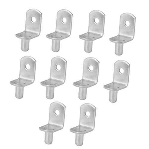 10pcs estante sujetador titular 5mm Espigas estante del metal Armario fijo titular Divisor muebles de cristal