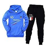 Jogging Enfant De Football France 2 étoiles Sweats à Capuche Survêtements garçon Sweats à Capuche Pantalons de Sport (Blue,11-12ans)