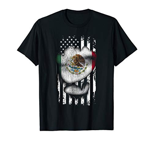 Torn Flag US & Mexico Flag Funny Cool Mexican Gift T-Shirt