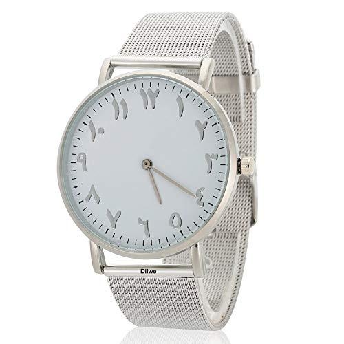 Dilwe Uhr der Frauen elegante Uhr-Quarz-Dial Analog rund mit Edelstahl-Armband(Silber)