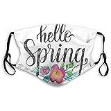 Antipolvo polución ajustable, letras a mano frase de Hello Spring On acuarela adorno floral en colores vivos, máscara bucal reutilizable de seguridad cálida para exteriores, tamaño de adulto: M