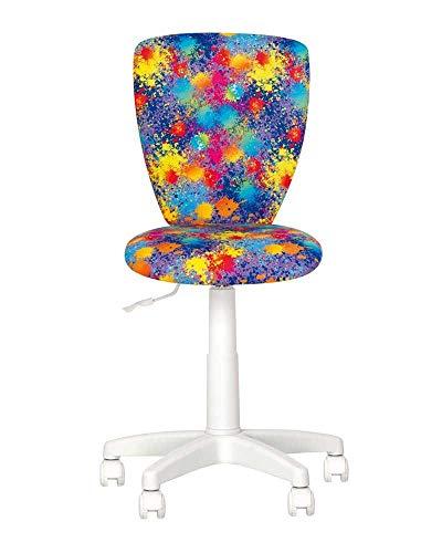 Silla de escritorio para niños, poliéster y asiento de escritorio para niños, con volante a 360 grados, altura regulable, respaldo ajustable, asiento ajustable en profundidad (Splash/Multi)