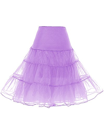 DRESSTELLS Netting Pettiskirt Half Slips for Tutu 20s Short Petticoat Crinoline for Evening Dresses Lavender S