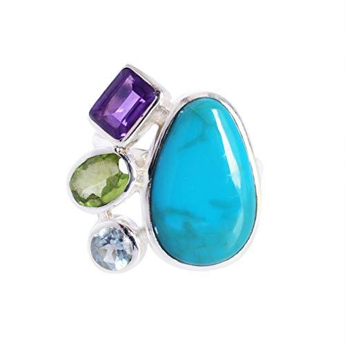 Ravishing Impressions Jewellery Mujer Unisex Plata fina 925 plata de ley Pear,Rectangle,Oval & Round-Shape Arizona turquesa, amatista, peridoto y topacio azul