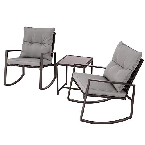 Cemeon 3-Piece Outdoor Rocking Chair Patio Bistro Set Brown Wicker with Two Chairs and Tempered Glass Coffee Table (Grey Cushion)