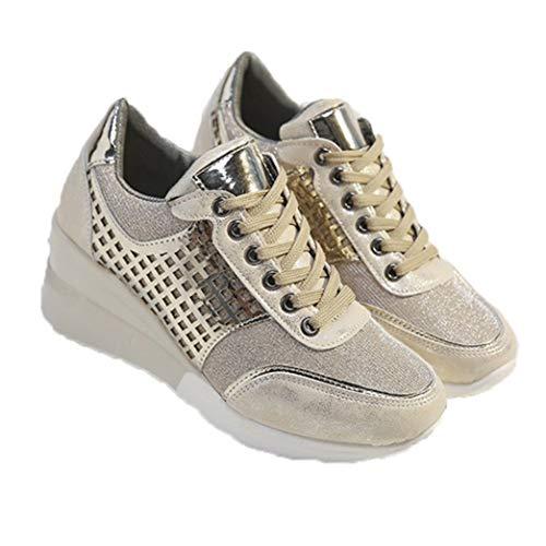 Zapatillas de Deporte de Primavera para Mujer Zapatos de cuña de Plataforma ahuecados de Moda Zapatos de Senderismo Deportivos internos aumentados Zapatillas de Cordones con Punta Redonda