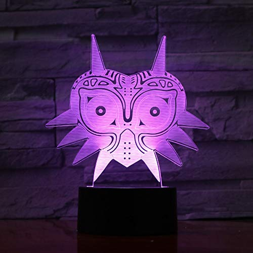 3D Cat mask Pattern Night Light,Sleep Light,Illusion Lamp,7 Color Change Decorative Lights, Kids Toys Birthday Gift Touch with Remote Control for Baby Adults Bedroom