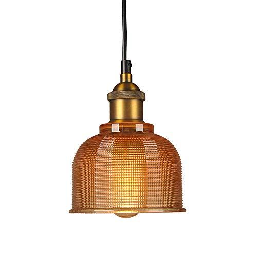 LFsem Vintage Industrielle Pendelleuchte Bunte Glas Lampenschirm Decken Leuchte E27 Loft Hängelampe Suspension Beleuchtung Für Restaurants Bar (Bernstein)