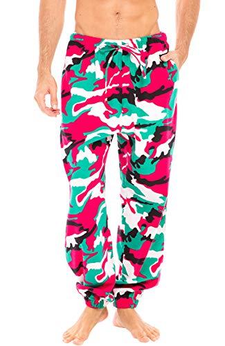 Alexander Del Rossa Men's Flannel Jogger Pajama Pants, Long Cotton Lounge Bottoms, 2XT Christmas Camouflage Jogger (A0468N262XT)
