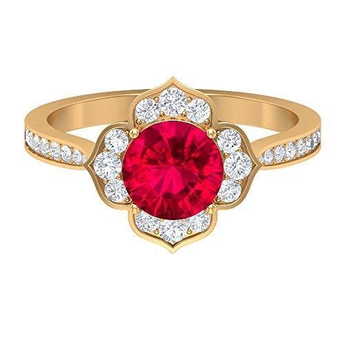 Anillo solitario de rubí redondo creado en laboratorio de 7 mm, anillo de diamante HI-SI de 1/2 quilates, anillo de halo de oro (calidad AAAA), oro de 10 quilates. rojo