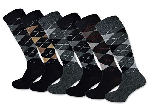 6 Paar Herren Kniestrümpfe Karo Muster Baumwolle mit Komfortbund & ohne Naht - 22733 (39-42, 6 Paar | Farbmix)
