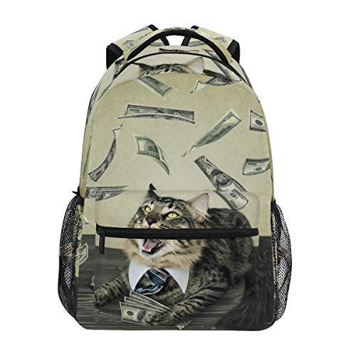 Mochilas escolares para niñas y niños, gato, con corbata, para disfrutar de la lluvia del dinero, bolsa de libros personalizada, senderismo, camping