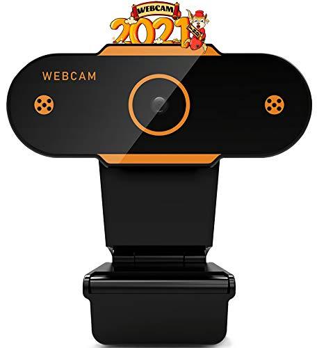 Webcam con micrófono estéreo 1080P Full HD Streaming Webcam cámara para Skype Zoom videochat grabación, videollamada, conferencia, enseñanza, juego compatible con Windows Mac Android