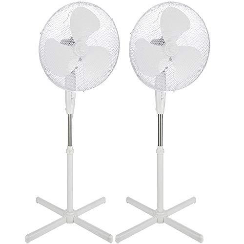 Standventilator 45 Watt Ventilator Klima Lüfter Klimagerät Windmaschine NEU (2 Stk, weiß/weiß)