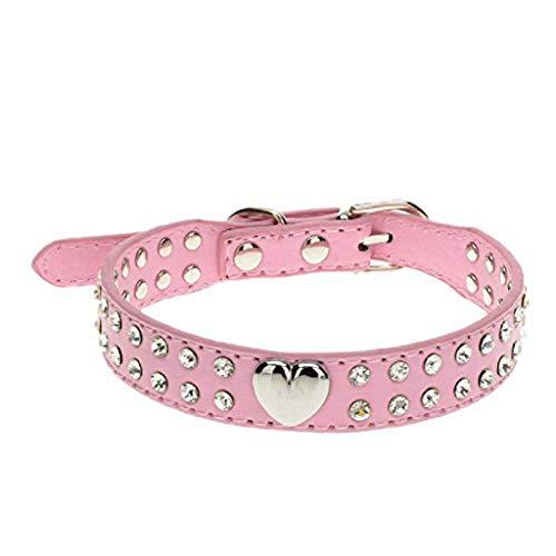 Ularma Cristal Bling Collar del Animal doméstico, Cachorro y Collar de Gato (S, Rosa)