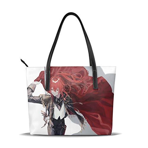 Diluc Ragnvindr Genshin Impact-Handtasche, modisch, 3D-Druck, hochwertiges Mikrofaser-Leder, große Kapazität, wasserdichte Handtasche für Frauen