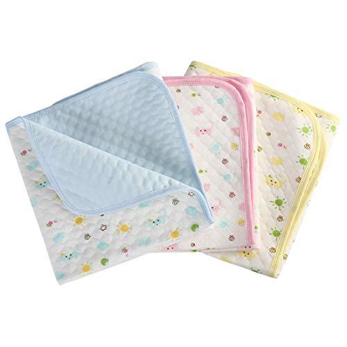 Baby Infant Wasserdicht Matte Wickelauflage - Ökologische Baumwolle Atmungsaktiv Wiederverwendbar Matratze Pad Packung mit 3 (M (50 x 70 cm))
