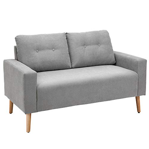 HOMCOM Fabric Upholstery Double Seat Sofa Compact Loveseat Couch Living Room Furniture 2 Seater with Tufted Back Cushions, Grey